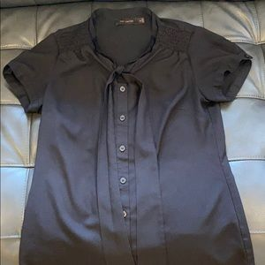 🇺🇸The Limited Black Tie Short Sleeve Button Up